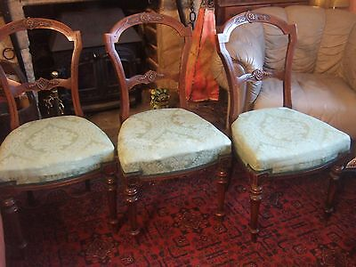 3 Antique Victorian Carved Walnut Balloon Back Upholstered Dining / Hall Chairs