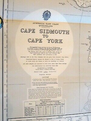 Nautical chart Cape Sidmouth to Cape York, Australia. Stamped 1957. Good cond