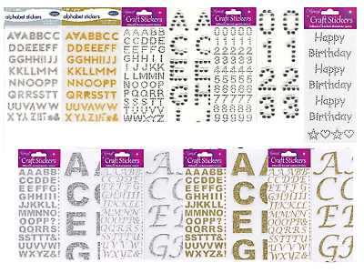 Self Adhesive Glitter Diamante Alphabet Letters Numbers Stickers Silver Gold