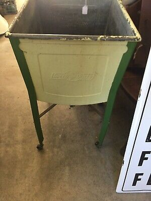 Vintage Old Galvanized Wash Tub On Stand With Wooden Wheels