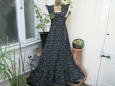 Original Vtg 70S Floral Prairie  Maxi Dress Sz 6/8 Hippy Boho Festival Retro
