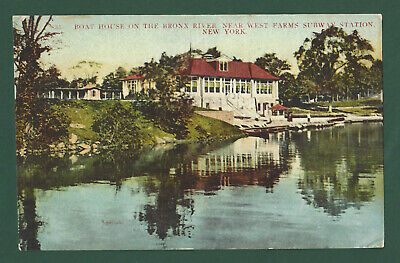Boat House on Bronx River New York City Vintage Postcard 1908 PM