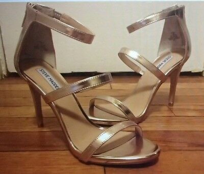 b1018511e615 STEVE MADDEN Rose Gold FEELYA style back-zip stiletto heels sz 9 M -NIB