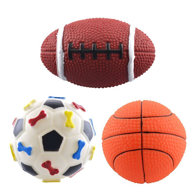 Dogloveit Rubber Sport Ball Squeaky Toy for Puppy Dog Cat, 3-Pack