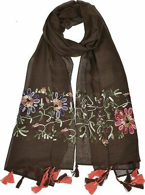 Aprileo Floral Embroidered Scarf Tassel Shawl Oblong Oversized Wrap