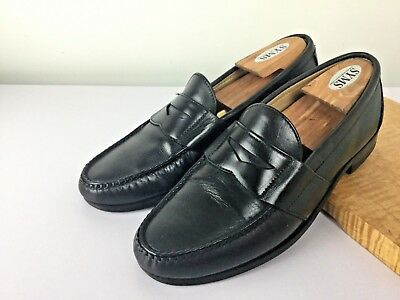 602fa7663b6 Sz 9 Allen Edmonds Cameron Black Leather Moc Toe Penny Loafer Made in USA