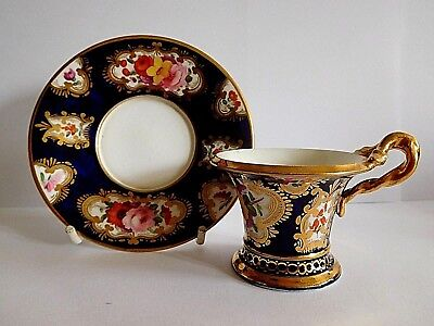 Rare Early 19Th Century Small Coalport Porcelain Demitasse Cup And Saucer