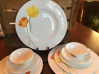 Villeroy Boch Iceland Poppies China Dishes Service For 2 Orange Yellow Germany