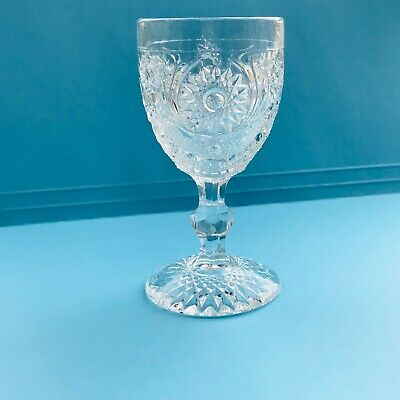 "EAPG U.S. GLASS STAR & CRESCENT WINE GLASS STEM   4 3/8"" TALL EXCELLENT c1908"