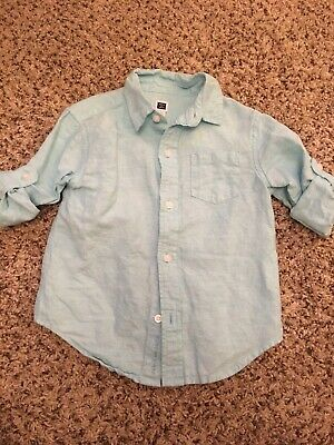 eb43297d Janie And Jack Boys 2T Turquoise Blue Linen Cotton Roll-Sleeve Button-Down  Shirt