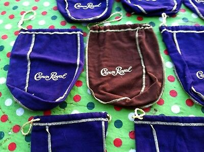 Lot of 10 Crown Royal Bags Purple/Brown Drawstring Bags Crafts/Possibilities