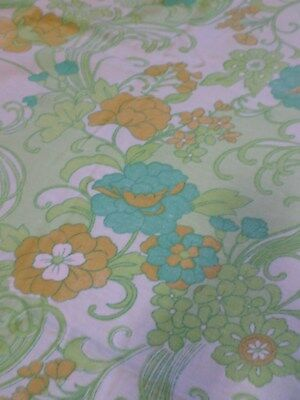 Retro Vintage Green And Brown Floral Flannel Poly Cotton Sheet Fabric ..