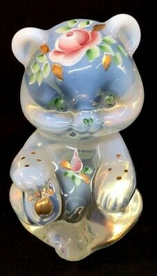 Fenton Art Glass HandPainted Roses & 24K Gold Accents On Crystal Opalescent Bear
