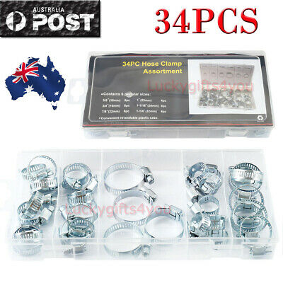34PC HOSE CLAMP Assorted Set Worm Gear Hose Pipe Fitting Clamp Assortment Kit OZ