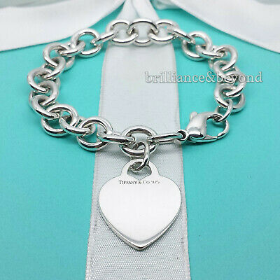 fdb49ffcd Tiffany & Co. Heart Tag Charm Bracelet Chain 925 Sterling Silver Authentic  7.25