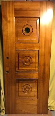 Art Deco 3 Panel Porthole Solid Wood French Entry Door /w Circle Glass 34x82