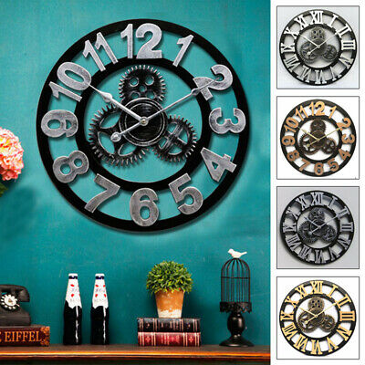 3D Retro Rustic Decorative Luxury Art Big Gear Wooden Vintage Large Wall Clock