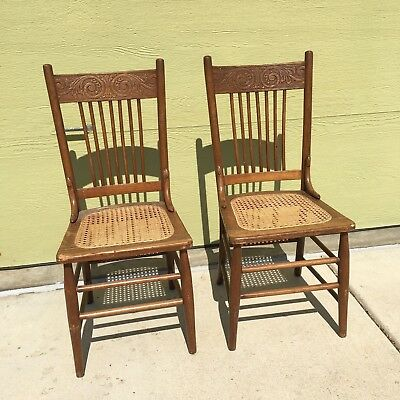 Pair of Antique Pressed Back Cane Seat Chairs
