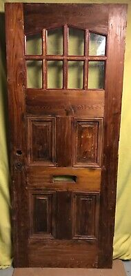 Antique Arts & Crafts Wood Exterior French Entry Door /w 8 Pane Glass 32x78
