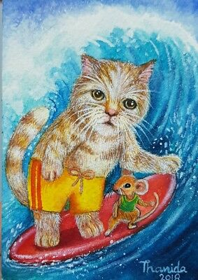 NEW DESIGN ORIGINAL ACEO Painting Art Cute Cat Rat Mouse Surfing Summer Sea