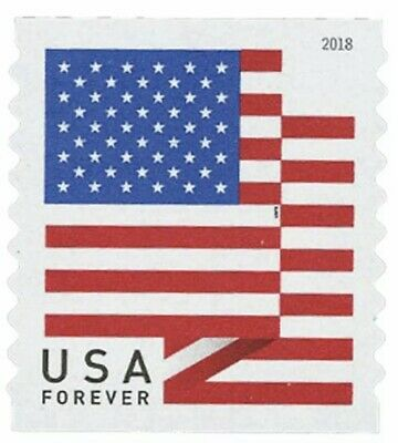 USPS Postage Stamps FOREVER - US Flag - 2018 - Total Units: 100 Stamps