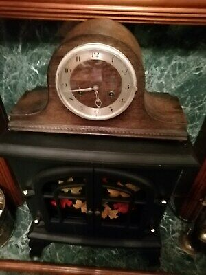 (542)    Wooden Dark Brown In C0Lour Mantel Peice Clock With Key Wind Up Movemen
