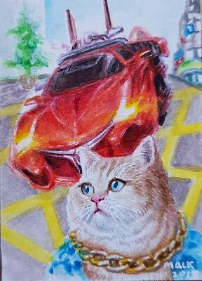 Rich Cat Original ACEO Acrylic Painting Art Red Sport Car Golden Necklace