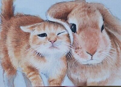 ORIGINAL ACEO Painting Art Card Collect Rabbit Bunny Couple Love Gift Card Cat