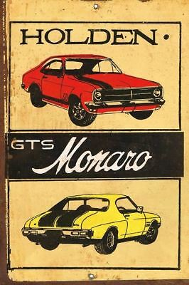 Holden GTS Monaro Rustic Look Vintage Tin Metal Sign Man Cave, Shed-Garage & Bar