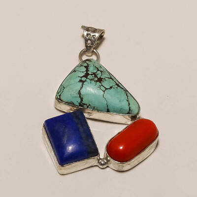 925 Silver Plated Turquoise Coral Lapis Pendant ex503