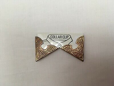 GENUINE VINTAGE GOLD TONE METAL COWBOY RODEO WESTERN SHIRT COLLAR CLIPS TIPS New