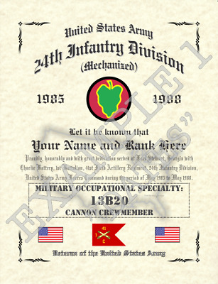 Affiliation Certificate Personalized 8.5 X 11 sc 24th Infantry Division m