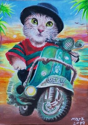 Original ACEO Painting Art Cat Scooter Motercycle Green Car Collect Gift Summer