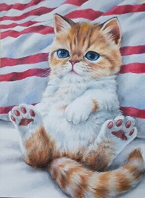 """VERY CUTE CAT ORIGINAL Colored Pencil Painting Art Card Collect Kitten 6×8"""" Gift"""