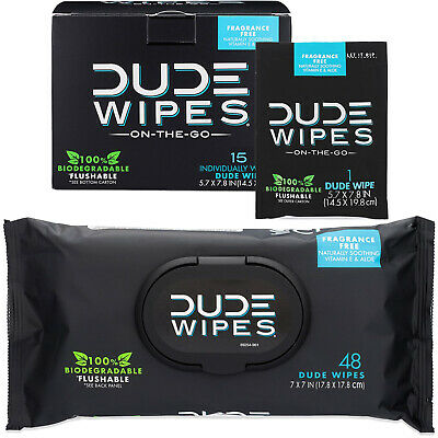 DUDE Wipes Flushable Wipes (15 Individual Wipes) and Dispenser Pack (48 Count)