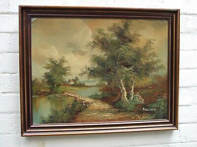 Vintage Oil Painting ''Lake Countryside '' on Canvas Signed Framed