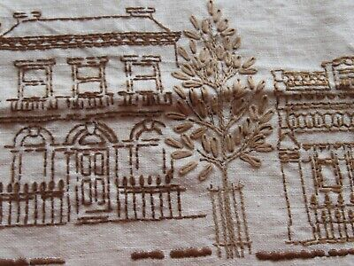 EASY stitch Linen table cloth - brown townscape embroidery begun thread provided