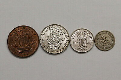 Uk Gb 1942 Coins Lot With Silver All High Grade B10 Yk43