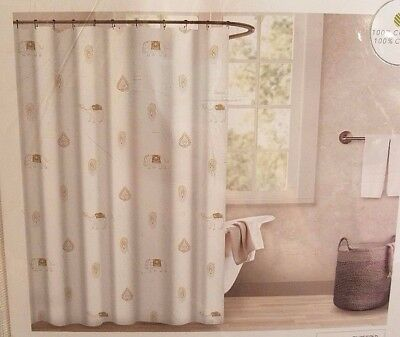 """Envogue  Floral Shower Curtain Pink /& Gray on White 100/% Cotton 72/"""" x 72/"""""""
