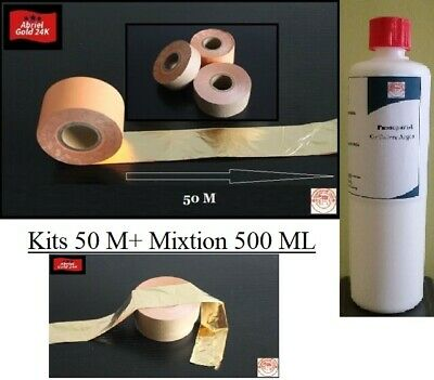 50 Mètre feuilles d' or 24 K + 500 ML Mixtion