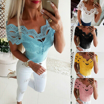 Fashion Women Off Shoulder Lace Tops Ladies Casual Summer Blouse Shirts Top Tee
