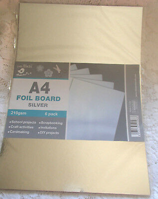Pack of 6  sheets of Silver foil board A4 size
