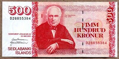 Iceland UNC Note 500 Kronur May 2001 P-58b