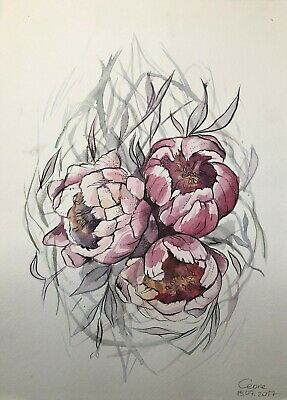 original drawing art Flowers X art watercolor A3