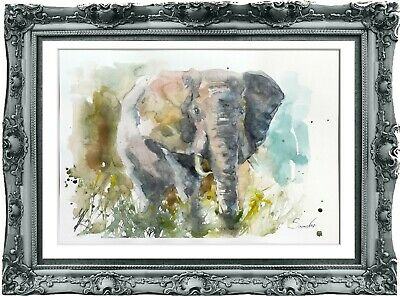 original painting elephant watercolor 193LM originale art A4