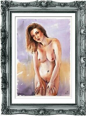 original painting naked woman 188SA watercolor peinture femme nue A3
