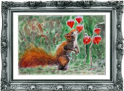 original painting squirrel watercolor 271UV peinture originale art A3