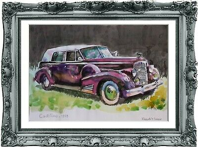 original drawing car Cadillac 1938 294UV art watercolor A3