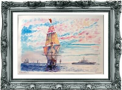 original drawing seascape 321UV paysage marin de dessin art watercolor A3