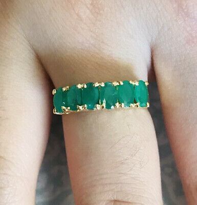 14k Solid Yellow Gold1.80CT Emerald Band Ring  3.78GMSize 7